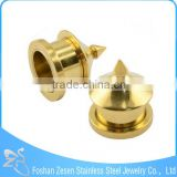 TP011176 Competitive price gold plated tent shaped stainless steel ear plug flesh tunnels