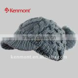 100%MOHAIR POMPOM HAT/WINTER HAT /KNITTED HATS WITH POMPOM/KNIT HAT/FASHION HAT ACRYLIC BEANIE