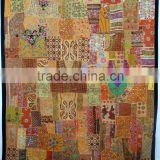 Vintage Sari Patchwork curtain Tapestry , Huge Indian Patchwork curtain WallHanging , Big Sari Patchwork Curtain