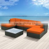 Modern Youth Orange Cushion Rattan Outdoor Patio Wicker Sectional Sofa Couch Set                                                                         Quality Choice