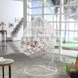 New Trendy Indoor Outdoor Bedroom Balcony Resin Plastic PVC PE Rattan Wicker Single Seat Swing Chair