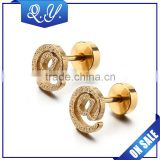 Wholesale barbell ear piercing jewelry gold plated ear stud