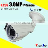 POE IP security camera 3.0mp ip66 weatherproof bullet surveillance digital video security camera