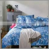 cotton reactive printed bedding sets and comforter cove/blue base with white flower print printing duvet cover and pillow cover