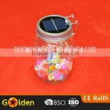 Hot Selling Lighting 4 Led Christmas Lamp Solar Sun Glass Mason Jar with Lid