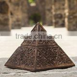 Store Indya Pyramid Styled Wooden Jewelry Trinket Holder Box Small Keepsake Storage Organizer Handcrafted
