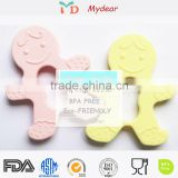 FDA Hot sale silicone rattle teether,baby toothbrush teether ,silicone boy shape baby teether