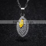 silver pendant necklace pear shape cubic zirconia rhinestone pave setting pendant designs for women