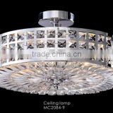 Zhongshan contemporary handmade fixture for ceiling lamps with stainless steel and crystals decoration MC2084-9