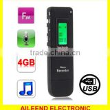Support Telephone recording FM Radio A-B Repeat function 4GB Digital Voice Recorder MP3 Player