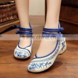Women Casual Shoes Ankle Strap Round Toe Chinese Style Bamboo Embroidered Ladies Cotton Walking Flats Oxford Sole No logos