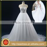 ASAM-01 Real Pictures Scoop Neck Ball Gown Crystal Beading Court Train Open Back Wedding Dresses