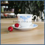 Wholesale white and blue custom printed tea cups and saucers