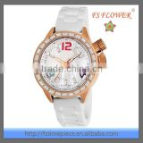 Charming Women Fashion Rose Gold Diamond Watch Silicone Strap Quartz Lady Women