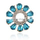 Factory Price Multirow Mixed Color Circle Crystal Flower Brooches Dress Pin Needle Clasp