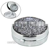 Metal Pill Box With Mirror And Glittery Cover