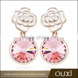 OUXI Rose flower shaped gold plated Aus Crystal&Enamel jewellery for wholesale 21367-2
