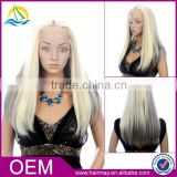 Whoesale cheap ponytail lacefront blonde wig ombre synthetic lace front wig