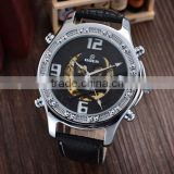 Alibaba 2016 GOER skull dial watch leather strap watch custom logo automatic watches for men