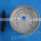 Industrial usage bimetal pipe thermometer with spring