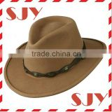 Unisex woll felt leatherette band outback CowBoy Hat