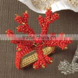 Hand Beaded Coral Napkin Rings snowflake napkin rings handmade napkin rings