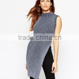 High fashion design women knitting dress sweater dress sleeveless tunic sweater dress high split dress