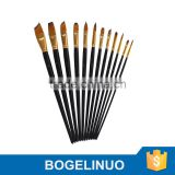 Bomega 12 artist brush set for Acrylic, Watercolor, Oil, Gouache & Face Painting China factory