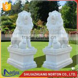 Used for decoration white marble lion playing ball statue NTMS-017LI