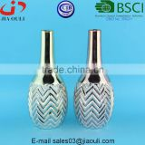 Tall wave patterned electroplating copper/gold bowling shape Ceramic Vase