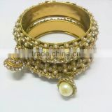 Antique Finish Kada Bangle Sets with hangings, Bridal Indian Churi Bracelet, Gold finish Bangle Sets