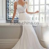 new beaded v neck backless spaghetti strap simple bridal gowns