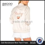 2017 MGOO Customize Satin Bomber Jacket Peachy Embroidery Windbreaker Sports Jacket For Women Clothing Manufacturing