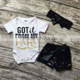 baby clothing sets infant baby girls boutique clothing sets toddler baby outfits got it from my mama romper black glitter shorts