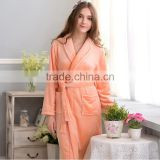 thick warm pink flannel coral fleece long with belt girl women bathrobe short sleep night gown