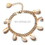 Bohemia Summer Gold Plated Cowrie Shell Anklet Tassel Beach Jewelry Anklet Bracelets For Women