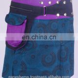 Black Dot Exotic Print in Window Blue Shade Cotton Fabric Gypsy Wrap Around Skirt With Belt HHCS 112 C