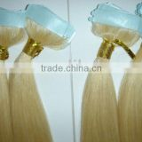 100% high quality remy European glue human hair skin weft with PU tape