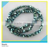 6*6 mm Bicone Shape Faceted Loose Beads Strands Metallic Green Glass Crystal Strands Beads