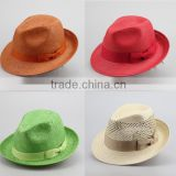 Fashion new Natural straw cowboy hat cheap straw hat panama wholesale mixing colors Summer straw vintage fedora hats for sale