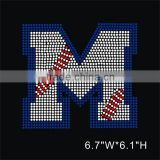 Alphabet Baseball letter M rhinestone hotfix motif iron on transfer