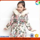 thinker long coat flower print zipper faux fur hoodies tunic girls garment appreal baby girl jacket winter down jacket for girl                                                                         Quality Choice