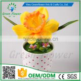 2016 Wholesale Multicolor Latex Artificial PU Flowers Narcissus bonsai Real Touch Bouquet Wedding Bridal Decor Display Flower