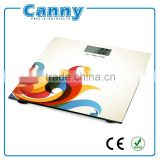 factory cheap ABS plastic 6mm or 8mm tempered glass 150kg or 180kg 3D printing mini bathroom scale with CE RoHS PAHS cetificated