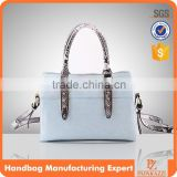 5128-2016 Paparazzi designed handbag wholesale price urban women snake skin trim bag bowling hand bags