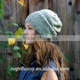 Seafoam Green Knitted Slouch Beanie ,Speckled dark green,Pastel Green Accessories,Fall Knit Hat
