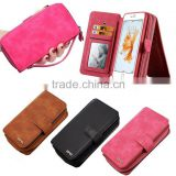 China Manufacturer Wholesale Woven Pattern Pouch Detachable Multifunction Wallet Leather Case for Iphone