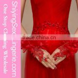 2015 alibaba china Off White Flowery Applique Fingerless Bridal Gloves wedding Gloves