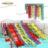 Big slide indoor playground type giant wave tube slide double 3 lane wave slides with long rainbow climbing lad