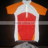 2015 Cotton/spandex orange cycling jersey women with quick dry moisture transfer function